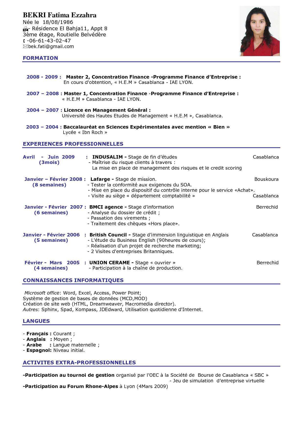 Resume Format  Modele Curriculum Vitae Shqip Kh8dI6Nm